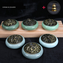 Big Longquan Celadon Incense Burner Antique Porcelain burner incenses cones coils sticks ceramic Censer stove + Copper holder