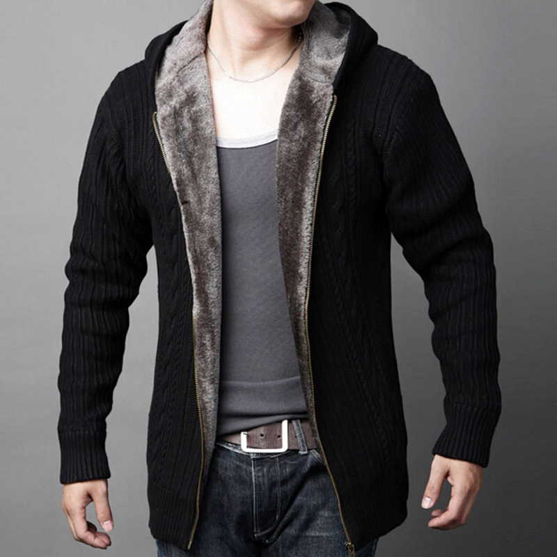 Thick Warm Fleece Lined Knitted Winter Male Cardigan Men Hooded Sweater  Coat Black Olive Green Blue 22ca4a722