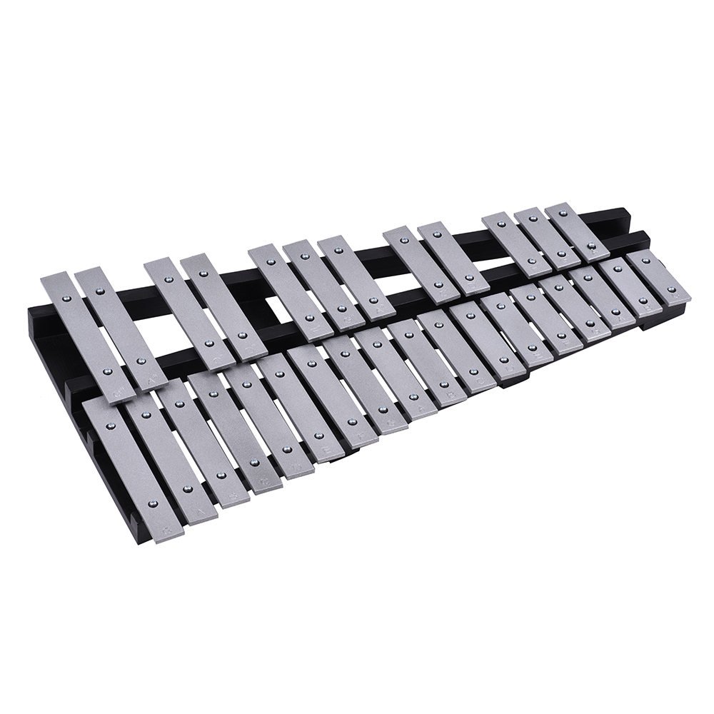 Foldable 30 Note Glockenspiel Xylophone Wooden Frame Aluminum Bars Educational Percussion ...