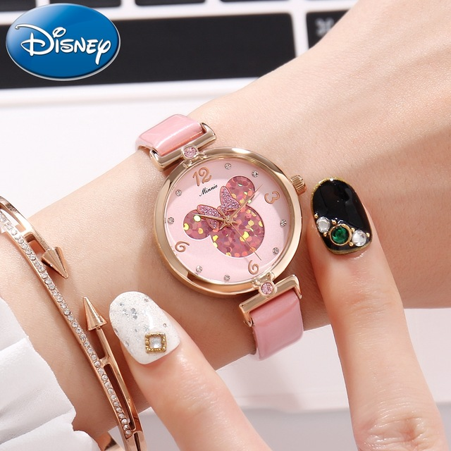2018 New Arrival Watch For Girls Pink Bling Bling Heart Shape Dial Quartz Wrist Watch Disney Minnie Clock Women Relojes MK-11009