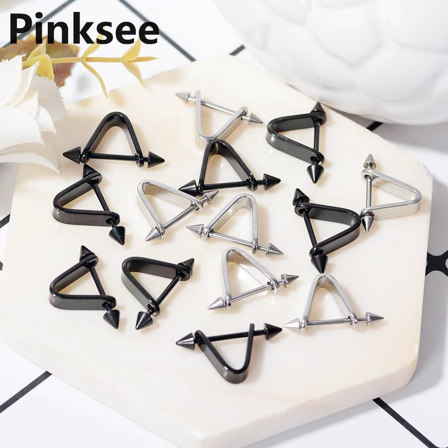 316L Surgical Steel Spike Piercing Nipple Ring Bar Body Jewelry 1PC Triangle Barbell Ear Cartilage Studs Black Silver Color