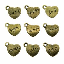 Heart Family Charms Antique Bronze Heart Family Pendant Charms Dad Daughter Brother Son Sister Mom Charm(China)