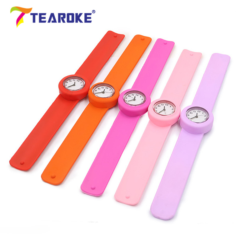 TEAROKE 11 Colors Round Silicone Baby Slap Watch Children Quartz Clock Kids Toy Boys Girls Birthday Gift Wrist Adjustable Fitted fashionable hospital nurse slap watch shellhard silicone band quartz girl boy kids multi color snap on wrist watch relogio