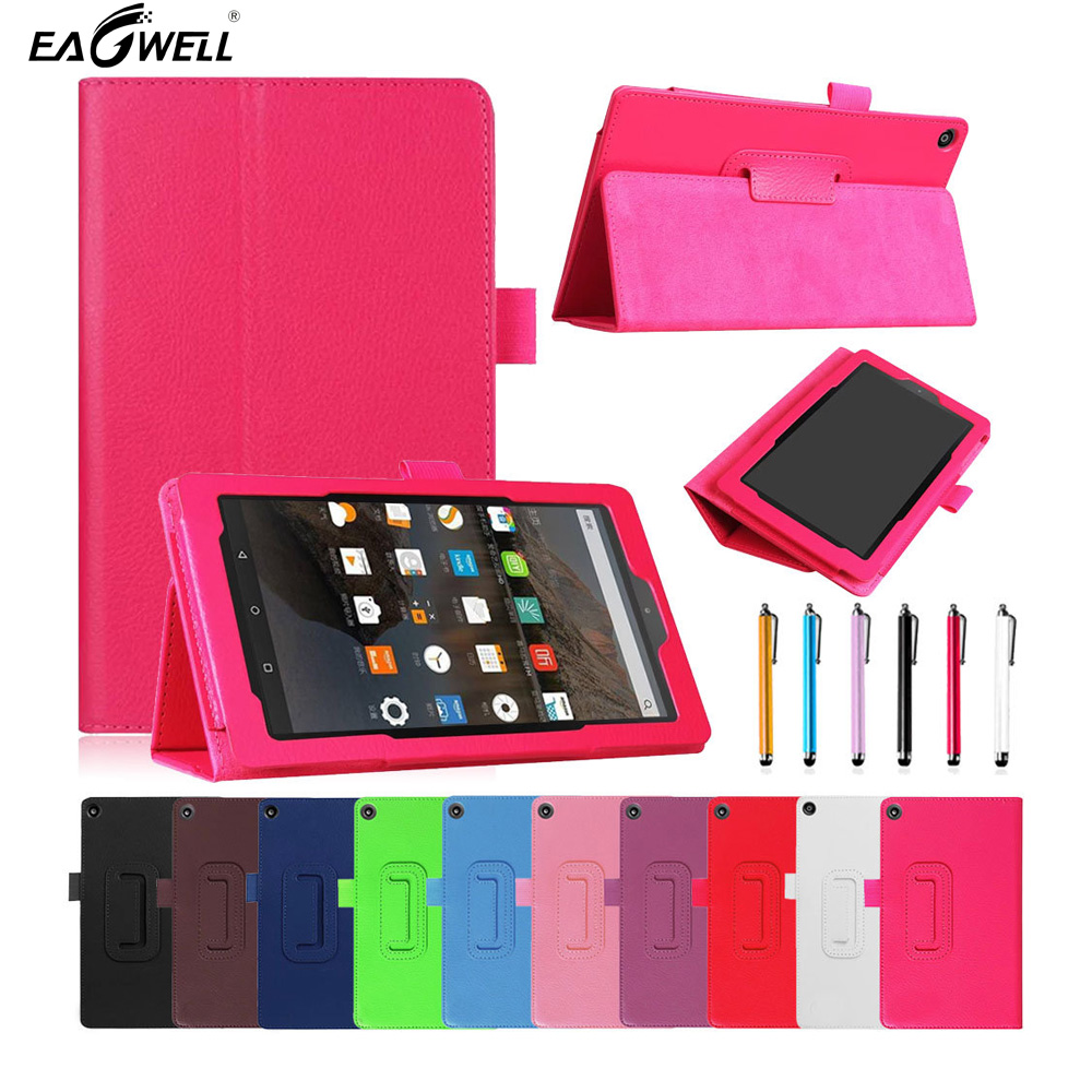 PU Leather Case Cover For New Amazon Fire HD 8 Tablet 2017 Release 7th Generation Folio Flip Stand Case Protective Shell Skin