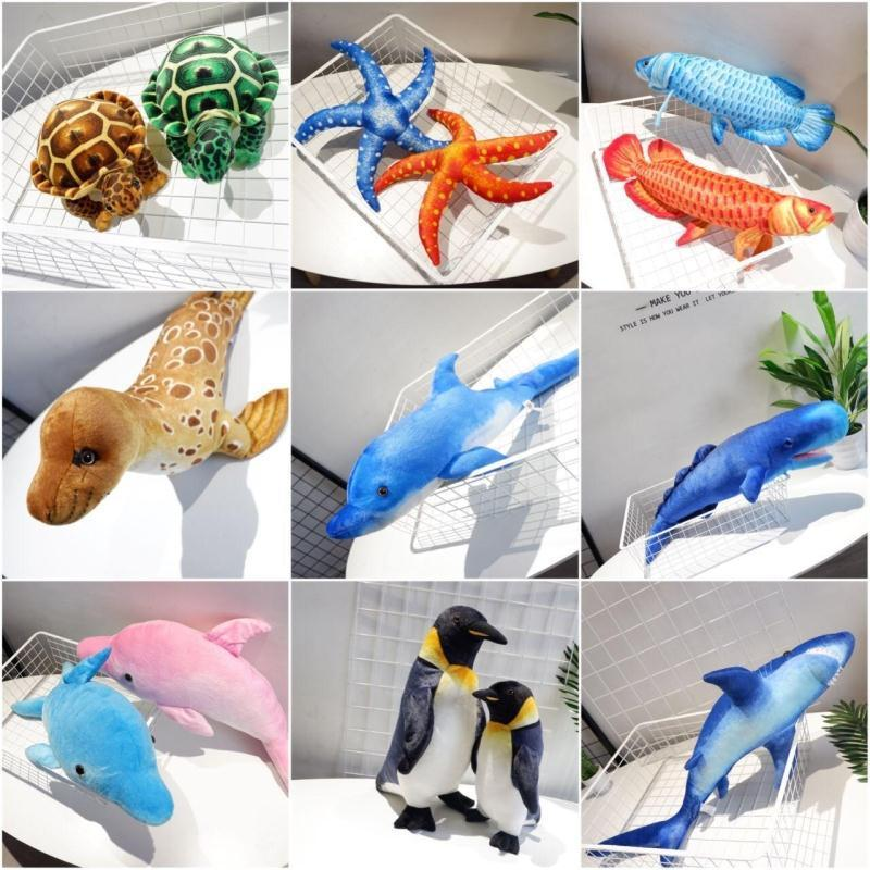 Candice guo plush toy stuffed doll marine ocean sea animal penguin Shark turtle Seal dolphin Starfish realistic model gift 1pc stuffed animal 90 cm plush dolphin toy doll pink or blue colour great gift free shipping w166