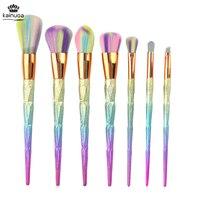 7pcs Unicorn Makeup brushes Glitter brochas Diamond Shape Soft Powder Eyeshadow Lip Foundation Brush Kits pincel de unicornio