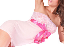 Hot sexy Lingerie black/pink lace sexy baby doll women's nightdress and underwear M-4XL free shipping sleepwear