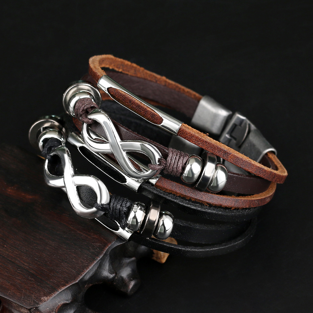 Mens Womens Brown Infınıty Leather Bracelet