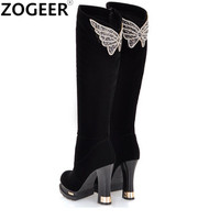 New Fashion Winter Women Boots Ladies Sexy Rhinestone Butterfly Knee High Boots Flock Thick High Heel