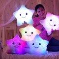 36*36 cm Kawaii Star Cambio de Color Almohada Almohada Luminosa con Led Luz Suave Animales de Peluche Juguetes de la Muñeca para niños