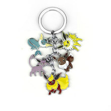 Nuovo gioco Unico Giappone keychain Animale Pokemon Portachiavi portachiavi Eevee Pocket Monsters Del Fumetto Del Metallo 5 Figure Cosplay Regalo(China)