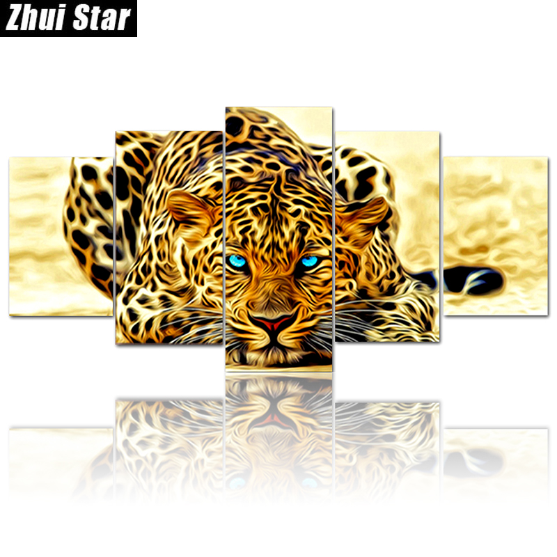 Zhui Star 5D DIY Full Square Diamond Painting Animal Leopard Multi-picture Combination 3D Embroidery Cross Stitch Mosaic DecorZhui Star 5D DIY Full Square Diamond Painting Animal Leopard Multi-picture Combination 3D Embroidery Cross Stitch Mosaic Decor