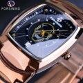 Forsining крутые Панк 3D череп черные мужские кварцевые часы с функцией даты роскошный стальной ремешок мужские прямоугольные часы