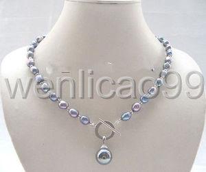 Image 1 - Gris oscuro Akoya o de agua dulce perla cultivada/shell colgante collar