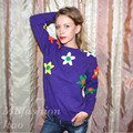 2017 Autumn Winter Women Clothing O-Neck Sweaters Long Sleeve Loose Pullovers Lady Patch Knitted Sweaters Casual Jumper Tops