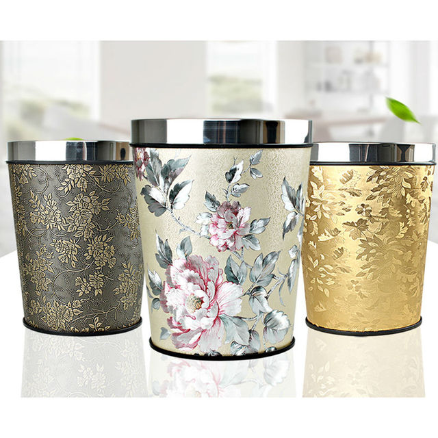 European Creative Household Waste Bin Bedroom Kitchen Trash Can Office Paper Basket