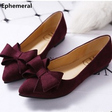 Women Pointy Toe Narrow Mouth Bowtie Flock Plus 34-43 Slip-On Breathable Lady's Single Shoes On Flats Low Top Loafer Cinderella