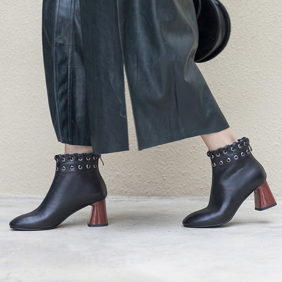 Designer Bout Chunky Boot Cuir Plush Perfetto In Talons Botas Véritable Anneau In Chaussures Prova Leather black Cheville En Creux nude Rond Mujer In Mode Métal Déco Nude Femmes 2WYHIDeE9
