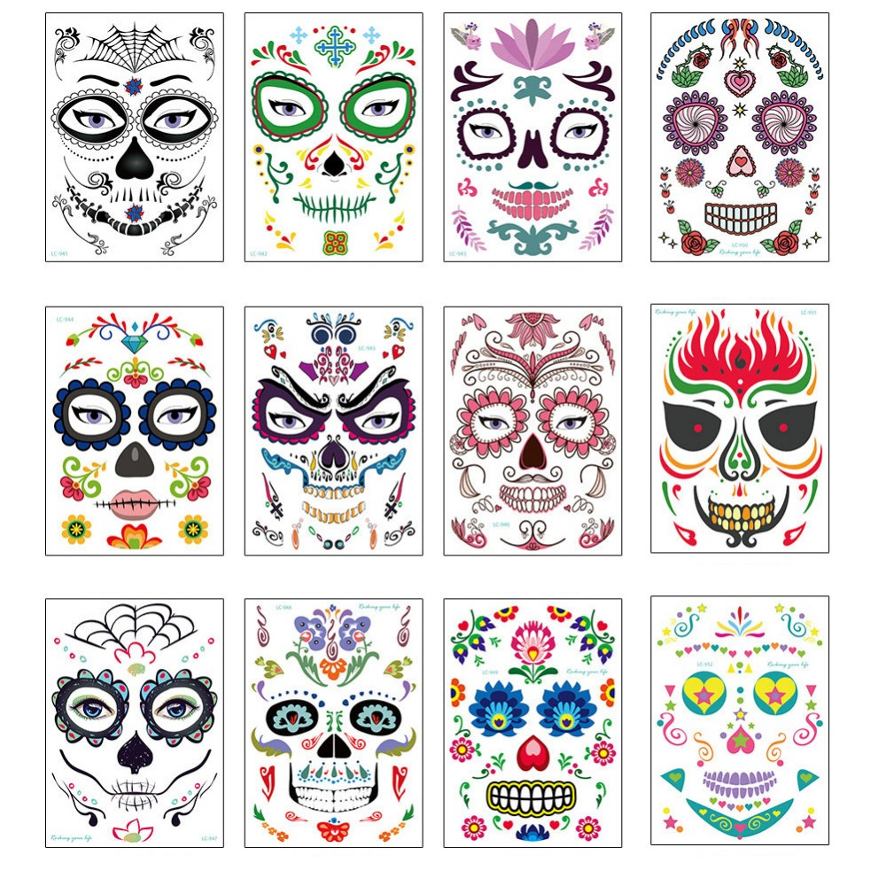 Temporary Tattoo Sticker Long Lasting Full Face Mask ...