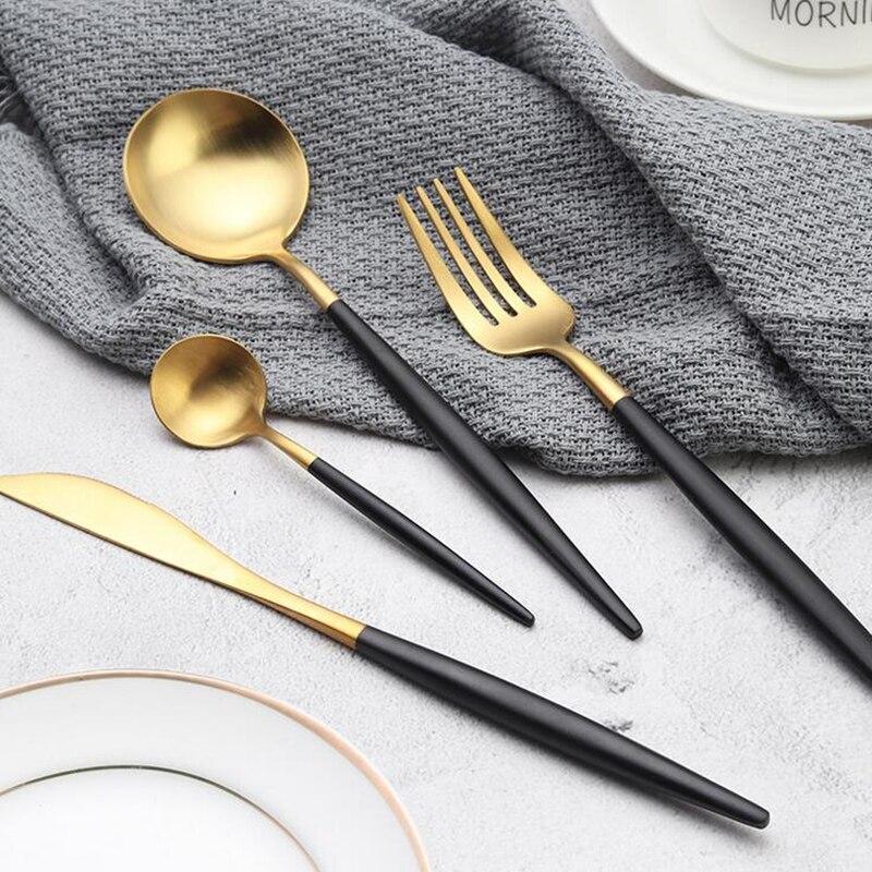 KuBac Hommi 30 قطعة أسود طقم سكاكين ذهبية حقيبة ورقية بلون أبيض غير لامع أواني الطعام مجموعة الأسود أدوات المائدة ل 6 الناس انخفاض الشحن-في أطقم أدوات المائدة من المنزل والحديقة على  مجموعة 3