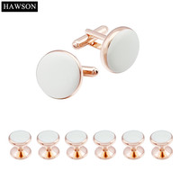 New Arrival Rose Gold Plated With White Polished Enamel Pretty Unique Cuff Links 6 Studs Set