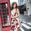 Roupas 2016 Primavera Outono das mulheres Moda Vintage Rose Flor Imprimir Mulheres Vestido Casual Ampla sling Vestidos Das Senhoras Vestidos