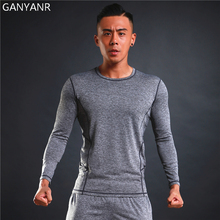 GANYANR Brand Running T Shirt Men Tennis Basketball Sportswear Compression Tops Slim Fit quick Dry Gym Exercise Tights