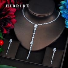 HIBRIDE элегантные длинные блестящие CZ Висячие Ювелирные наборы брелок из старинной стали роскошные свадебные украшения набор Bijoux для женщин вечерние подарки N-562
