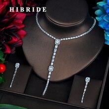 HIBRIDE Elegent Long Shinny CZ Dangle jewelry Sets Sparking Zircon Luxury Wedding jewelry Set Bijoux For Women Party Gifts N 562