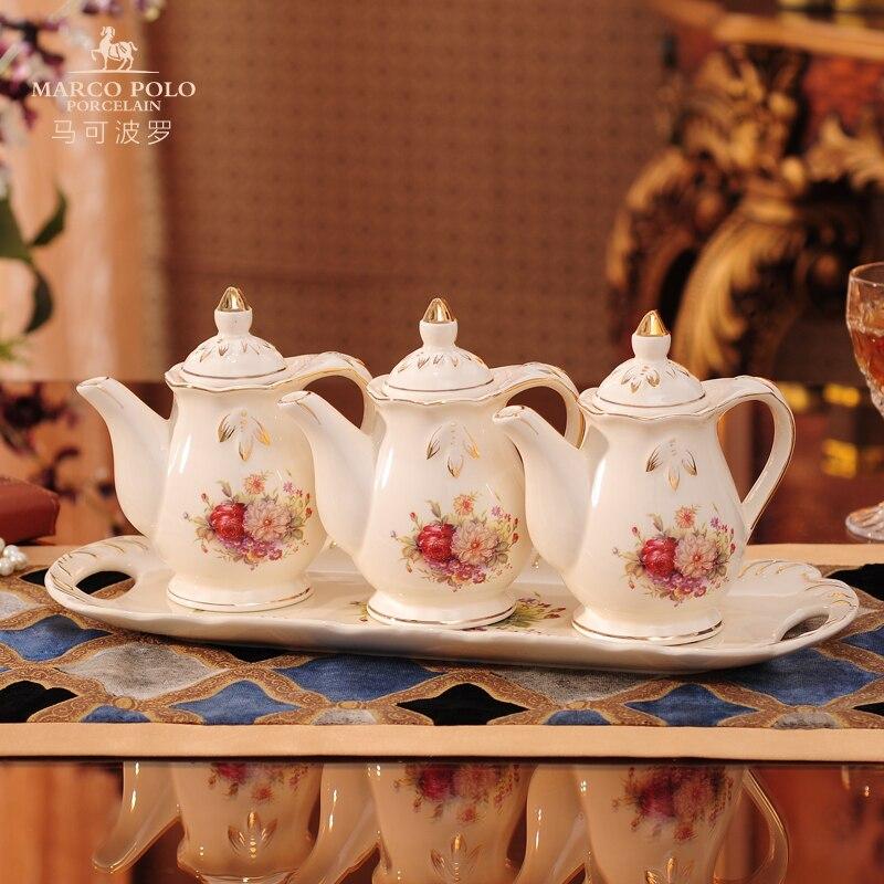 Trois-pièces ensemble Assaisonnement bouteille En Céramique avec coaster Huile/sauce de soja/vinaigre bouteille ensemble Table fournitures de Cuisine fournitures