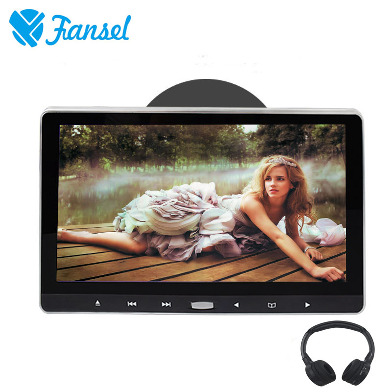 Fansel 11.6 Inch Car Headrest Monitor Touch Button DVD Player Support HD 1080P Video/USB/SD/IR/FM Transmitter/HDMI/Speaker/Game