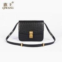 Модные клапаном сумка для Для женщин Роскошные Сумки Черный крокодил Для женщин натуральная кожа плеча сумочку дамы небольшой Кроссбоди су