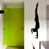 Black Printed Self Adhesive Handstand Girl Wall Sticker Yoga Pose Home Decor Vinyl Art Murals