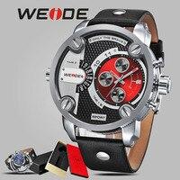 WEIDE mehanical mano viento reloj resistente al agua reloj de cuarzo reloj de pulsera deportivo casual genuino de cuero deporte de los hombres de lujo Gran dia