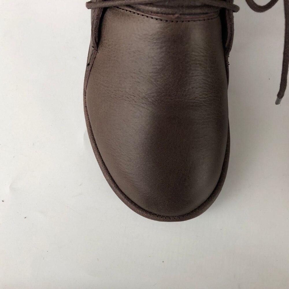 Careaymade ผู้หญิงรองเท้า, 2018 การออกแบบเดิมของแท้รองเท้าหนังผู้หญิง retro อารมณ์บริสุทธิ์รองเท้าทำด้วยมือ-ใน รองเท้าบูทหุ้มข้อ จาก รองเท้า บน   2