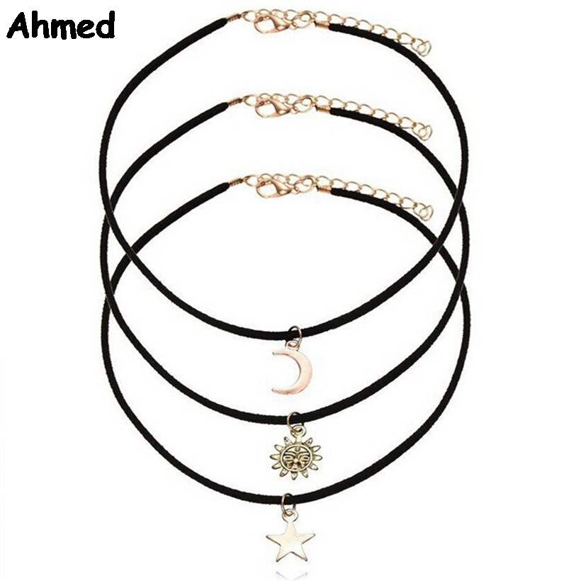 Ahmed Jewelry Black Chains Star Moon and Sun Choker ...