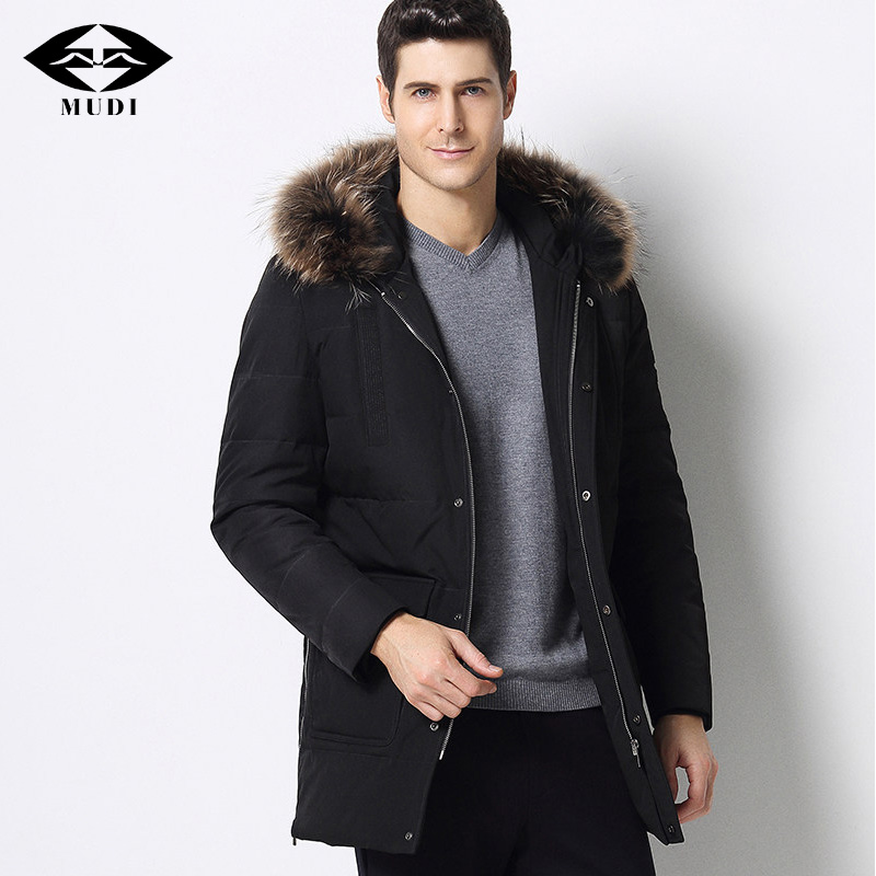 MUDI Brand Mens Duck Down Coats With Detachable Real Fox Fur Collar Jackets Winter Thick Warm Down Coats Formal Outwear For Male ...