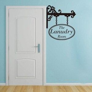 Image 1 - Pralnia wiszące znak drzwi naklejka pranie naklejka ścienna do pokoju naklejka winylowa dekoracja do domu 2XY01