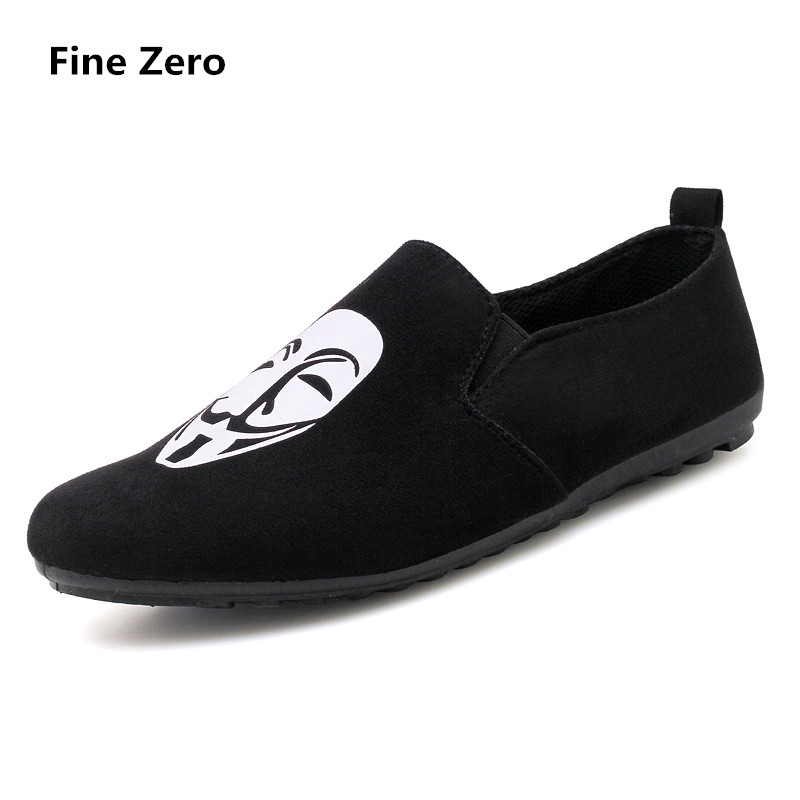 Fine Zero 2018 Men spring summer flock human face Slip on Dress Business Shoe Male Soft  ...