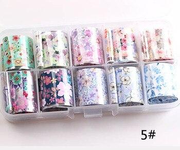 1set/lot 2.5*100cm Butterfly Spring Mix Flower Starry Sky Nail Foils set Transfer Sticker DIY Manicure Decoration Decals - 5