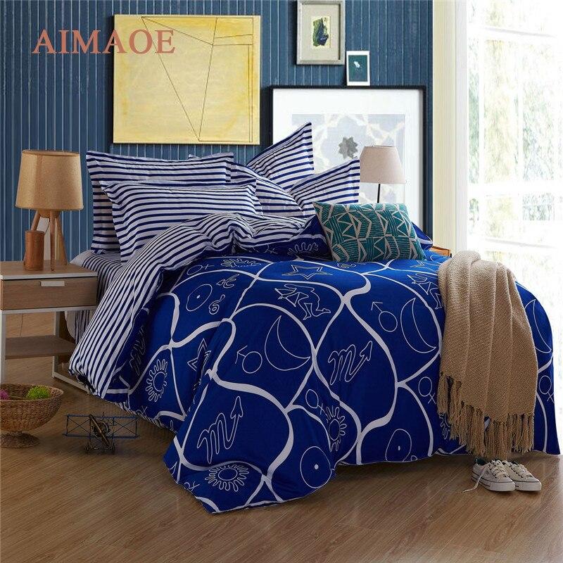 ₩2016 azul patrones geométricos de viento moderno estilo edredón 4 ...