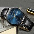 Мужские автоматические механические наручные часы AESOP  простые ультратонкие часы с кожаным ремешком  часы для мужчин