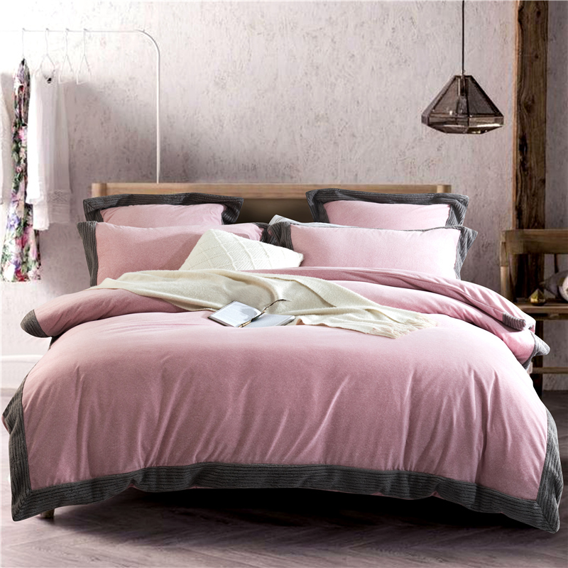 Raschel Velvet Flannel Solid Color Bedding Set Warm Fleece Splicing Edge Duvet Cover Bed Sheet Pillowcases Queen King size 4/6/7Raschel Velvet Flannel Solid Color Bedding Set Warm Fleece Splicing Edge Duvet Cover Bed Sheet Pillowcases Queen King size 4/6/7