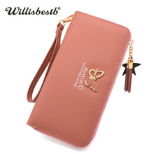 ФОТО luxury brand women wallets female purses for lady clutch 2018 new letter leather card holder long zipper red purse woman wallet