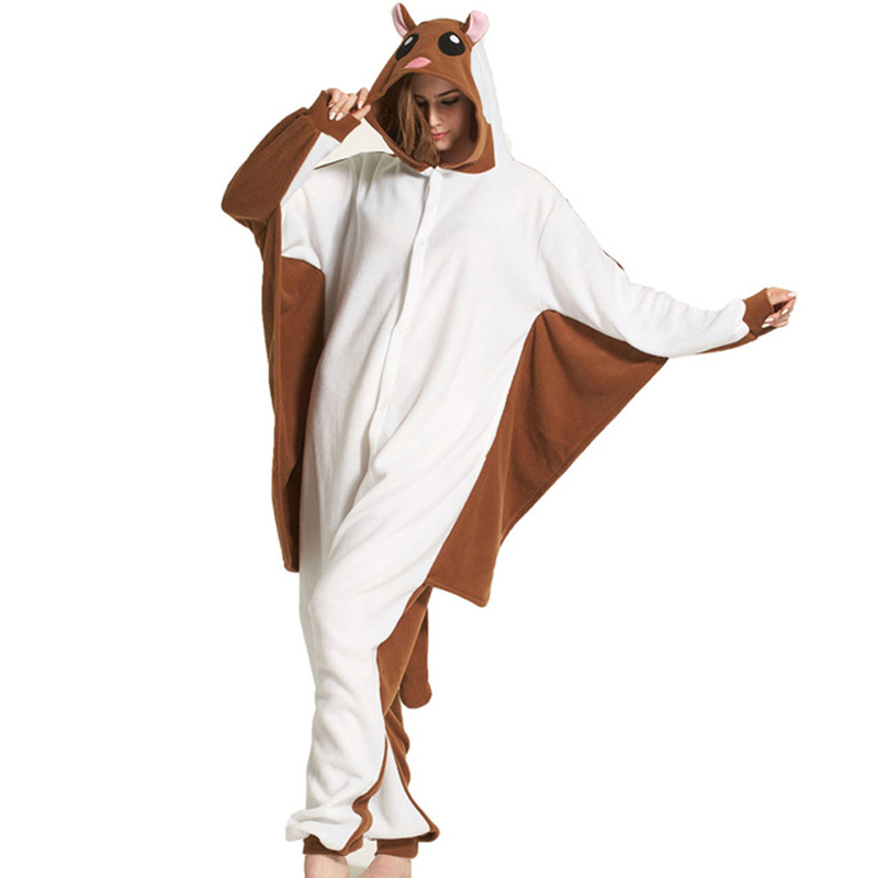 Flying Squirrel Kigurumi Pajamas Animal Bat Mouse Onesie For Adults Women Men Suits Winter Sleepwear Overall Festival Outfits
