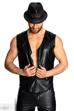 Sexy Lingerie EUROPE SEXY PVC RUBBER LATEX MENS T SHIRT EROTIC GIMP GAY VEST SUSPENDERS FETISH L938