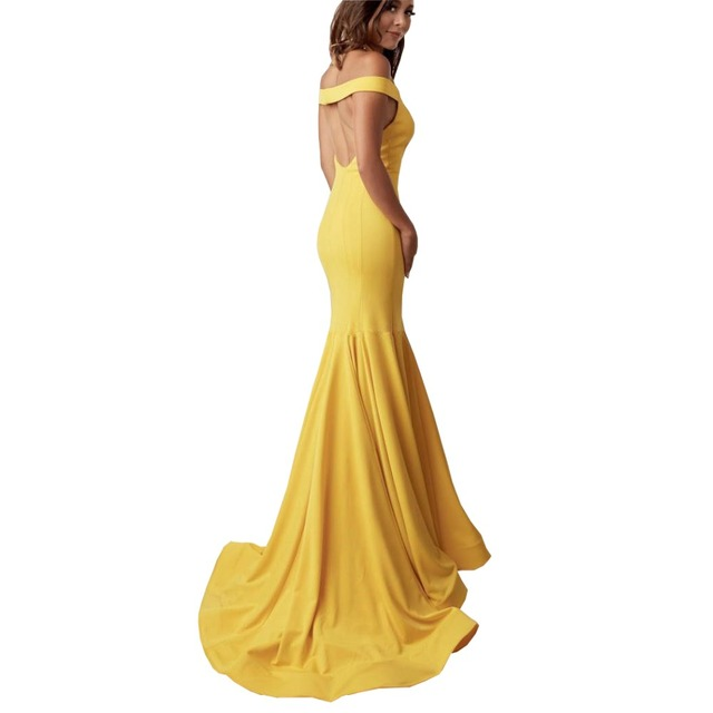 aa5a52ee9367 Hot Sale Yellow Mermaid Prom Gown Satin Prom Dresses Gowns Sexy Backless  Formal Party Dress Evening Wear Women Long Dresses