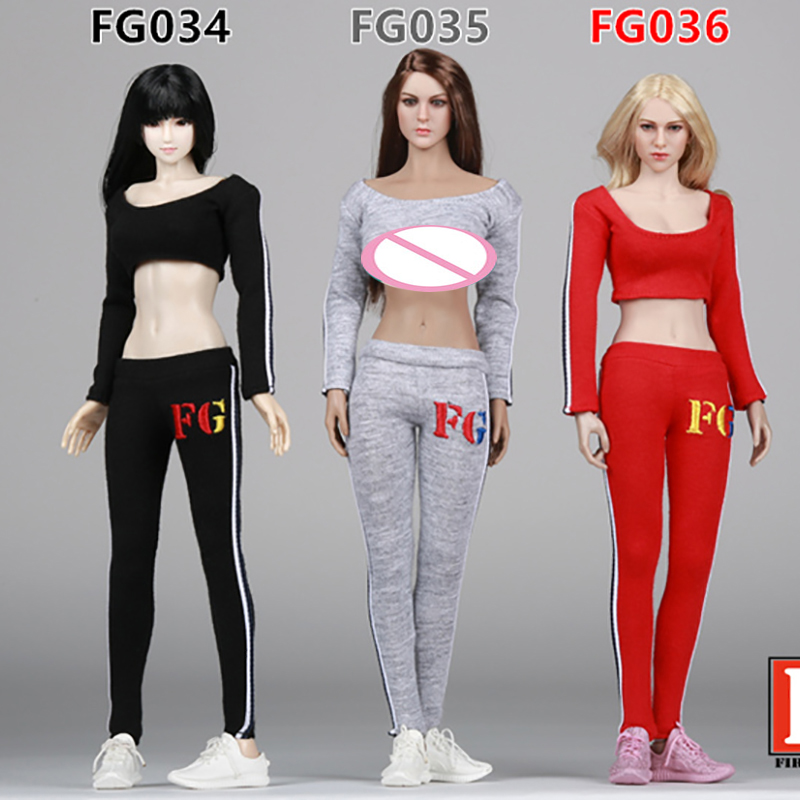 Scale 1/6 Dresses Fire Girl Toys FG034-FG036 Female Sportswear Apparel Suit for 1/6th 12 Inch Phicen Action Figure Doll Toy