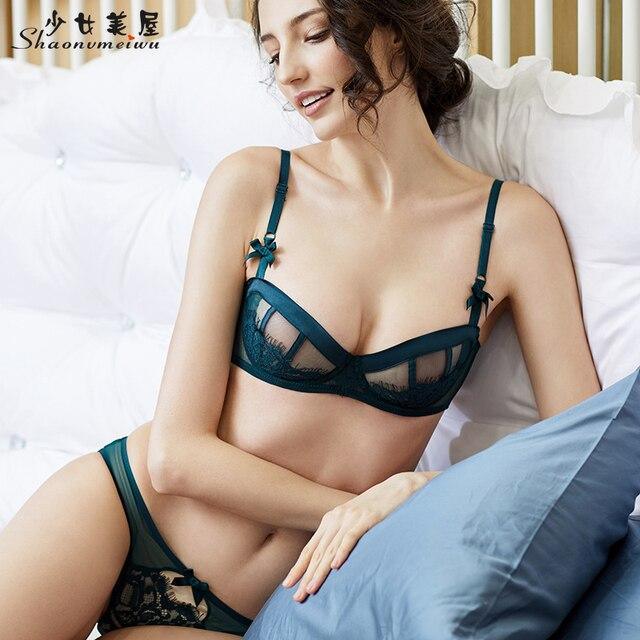 shaonvmeiwu Super thin transparent half cup bra set sexy lady lace bra slim 1