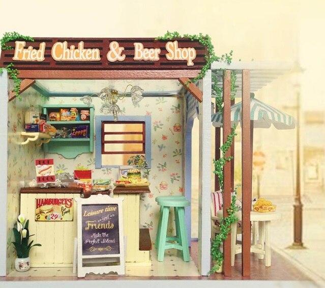 Assembler BRICOLAGE Maison de Poupée Jouet En Bois Miniatura Poupée Maisons Miniature Dollhouse jouets Avec Meubles LED Lumières Cadeau D'anniversaire Z006